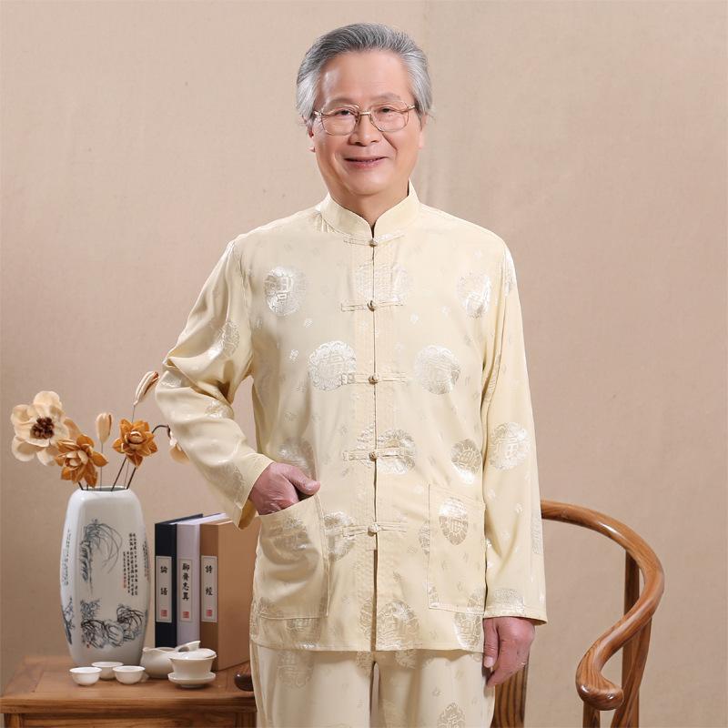 春夏中老年唐装男士长袖套装立领爸爸装中国风中式大码衬衫外套 发货周期:一般在付款后2-90天左右发货,具体发货时间请以与客服协商的时间为准
