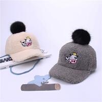 韩版新品冬天儿童帽子卡通刺绣鸭舌帽羊羔绒保暖棒球帽潮男女宝宝
