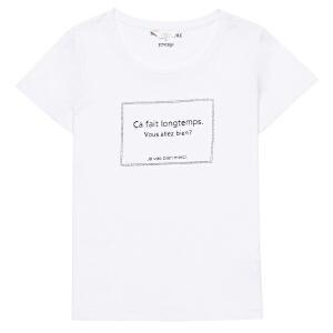 卓多姿夏季宽松百搭纯色字母T恤女734023