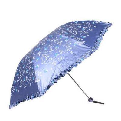 天堂伞 三折钢骨黑涤彩胶拼裙边防晒 防紫外线 晴雨伞33236E