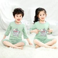 儿童睡衣套装春夏款纯棉薄款空调服男童女童七分袖家居服短袖