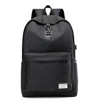 男生双肩包韩版校园大学生书包女帆布时尚潮流青年背包初中生个性 黑色 USB充电