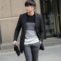 秋冬新款韩版修身 毛呢大衣中长款西装领 潮呢子外套