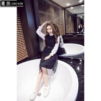 秋装新款套装裙女韩版针织背心+网纱拼接气质中长款连衣裙两件套 均码