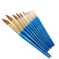 温莎牛顿蓝色短杆水彩笔混合貂毛圆头水彩笔水粉画笔000-16号单支