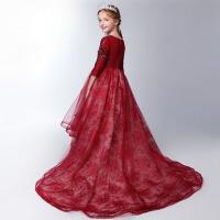 儿童走秀主持钢琴演出服花童礼服 公主裙女童红色长袖拖尾蓬蓬婚纱