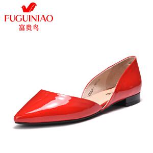 富贵鸟2017春季女鞋单鞋 女平跟平底鞋尖头鞋