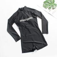 新款温泉连体性感泳衣女小胸聚拢前后拉链遮肚显瘦长袖保守泳装女 黑色