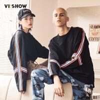VIISHOW新款T恤2018春季情侣套装体恤 套头圆领男士打底上衣潮