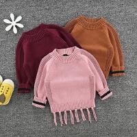 秋冬款小童个性流苏毛衣女童粗毛线加厚套头针织衫潮宝宝外套全棉