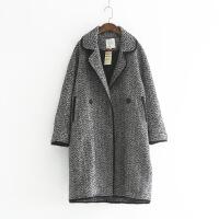 361-0021韩版时尚秋冬新款女式翻领黑白长款大衣两粒扣外套风衣 黑色 M