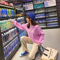 七格格套头卫衣女2019新款秋季韩版宽松圆领字母粉色长袖百搭上衣