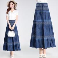 2018夏季新款女装半身裙时尚妈妈松紧腰裙子大码裹胸裙牛仔长裙薄