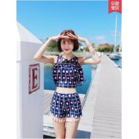 泳衣女保守学生韩国遮肚少女可爱红色度假两件套分体裙式游泳衣女