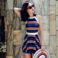 新款裙式连体泳衣条纹钢托修身大胸显瘦裙式温泉游泳衣 支持礼品卡支付