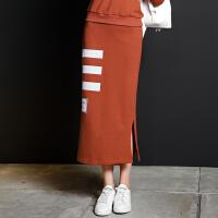 ANN 2016冬新款 字母撞色几何印花侧开叉中长款高腰半身裙CL226