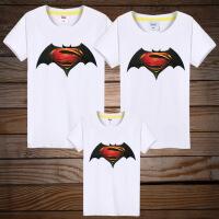 亲子装2018新款潮全家装夏T恤一家三口四口超人蝙蝠侠T恤