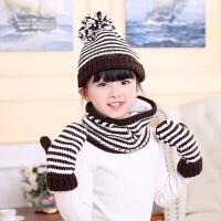 儿童冬加绒保暖毛线帽子围脖套装中童大童女童帽子围脖手套三件套