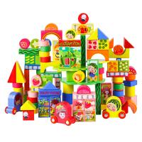 106粒动物场景实木质宝宝大块儿童玩具桶装积木木制