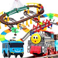 电动火车轨道儿童男孩轨道玩具汽车赛车小火车头套装