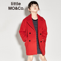 littlemoco男女童经典翻驳领双排扣羊毛呢儿童呢子大衣