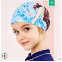 儿童泳帽女童中大童长发印花游泳帽防水舒适游泳帽子不勒头