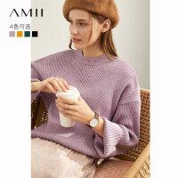 Amii极简慵懒风洋气时尚毛衣女2019冬季新款休闲宽松套头毛针织衫