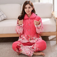 珊瑚绒夹棉睡衣女冬加厚三层法兰绒家居服秋学生韩版甜美可爱套装