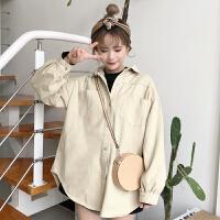 韩版bf风宽松百搭长袖口袋牛仔衬衫纯色学生休闲衬衣外套春装女装