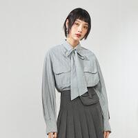 太平鸟格纹飘带衬衫女2020春季新款宽松休闲长袖工装衬衫女