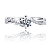 PT950钻戒 群镶钻戒女1克拉结婚求婚钻石戒指铂金婚戒对戒