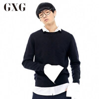 【GXG过年不打烊】GXG男装 冬季男士修身时尚休闲藏青色针织衫男#64120363