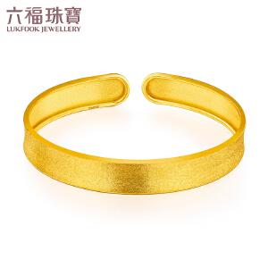 六福珠宝金色时光黄金手镯女足金镯子简洁开口手镯   GDG10080