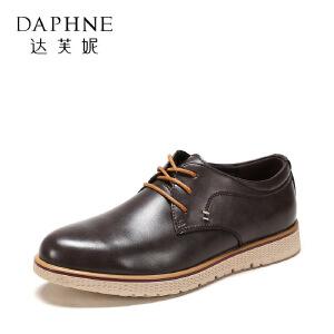 达芙妮集团/鞋柜春秋时尚休闲系带商务男鞋皮鞋1117414182-