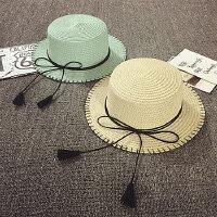 儿童平顶小礼帽夏天沙滩帽度假防晒遮阳帽女童太阳帽宝宝帽子草帽