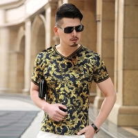 中年夏装短袖T恤V领花体恤衫男青年时尚个性潮流镂空打底衫