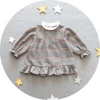 1-3岁女宝宝秋装复古衬衫裙子女童韩版后开衫上衣女婴儿格子衫衣2 灰红