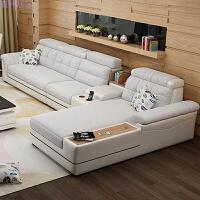 布艺沙发可拆洗组合大小户型客厅整装现代简约L转角新款沙发 +脚踏+边几