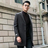 羊毛呢大衣男中长款韩版青年修身黑色呢子风衣商务外套潮