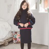 女童冬装套装亲子装韩版中大童冬季加绒卫衣包臀半身裙洋气两件套