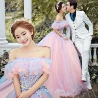 新款婚纱礼服影楼主题服装情侣写真外景拍照摄影舞台演出粉色拖尾 精品女装 均码