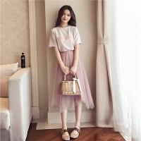套装女春夏装2018新款韩版亮丝T网纱半身裙俏皮时尚两件套连衣裙
