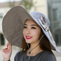 超大沿沙滩帽太阳帽子女士遮阳帽夏天凉帽防紫外线防晒可折叠户外 M(56-58cm)