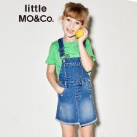 【折后价:199.6】littlemoco夏季新品女童洋气裙子背带不规则毛边全棉牛仔背带裙