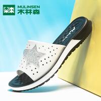 木林森女鞋2019新款中跟外出沙滩韩版百搭夏季时尚凉鞋室外凉拖鞋外穿女鞋子