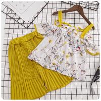 夏装女童碎花露肩上衣百褶裤两件套韩版儿童套装175071
