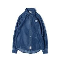 南夏乔装 日系秋款男式衬衫 欧美复古休闲长袖条纹衬衣男