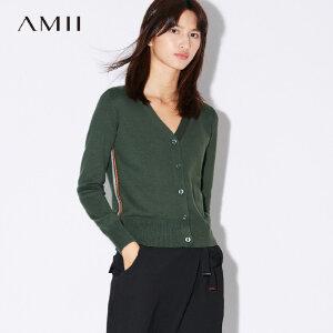 【品牌团 1件7折/2件5折】Amii[极简主义]撞色条纹毛针织衫女秋装2017新款直筒纽扣休闲上衣