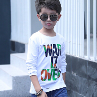新款男童长袖T恤中大童春秋打底衫童装儿童白色上衣