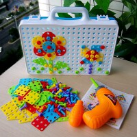 六一儿童礼物益智玩具早教工具箱电钻玩具拆装螺丝拼图积木拼装组合套装